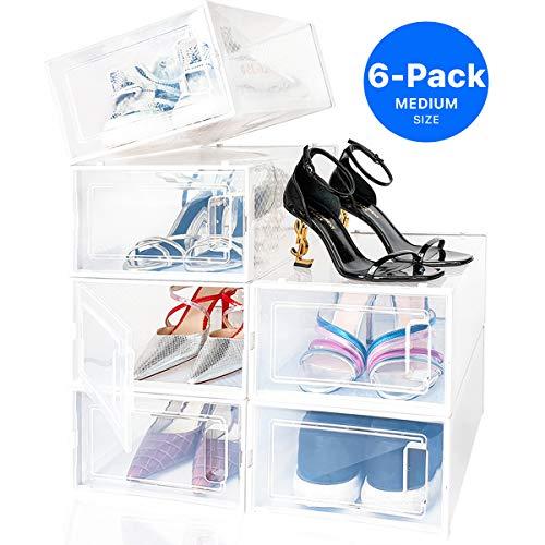 Organizador de zapatos apilables para armarios y entrada, 6 cubos de almacenamiento de cubos plegables para zapatos de hombre, zapatos de mujer, zapatillas de dep