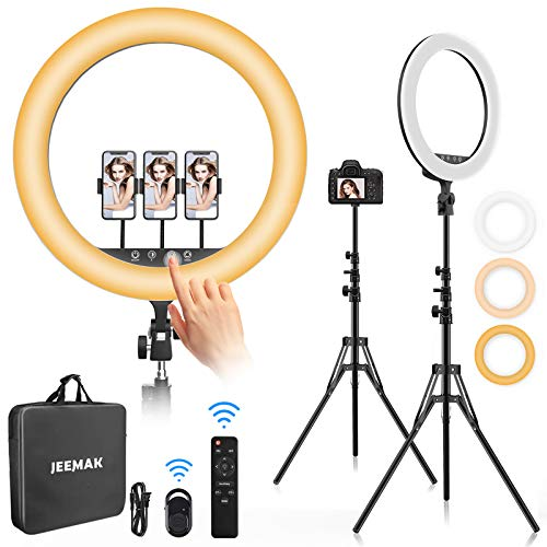 Jeemak Anillo de Luz 18 Pulgadas Aro de Luz LED con Trípode Soporte Movil,Control Remoto Bluetooth 3 Modos Luz,10 Niveles Brillo, 2700K-5700K para Youtube/TikTok Video/Maquillaje/Selfie/Fotografia
