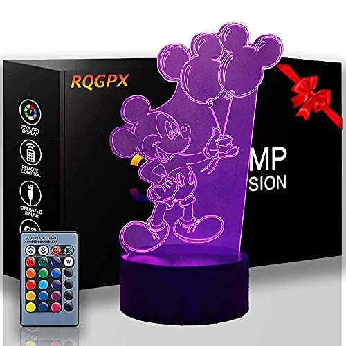 Luz nocturna 3D Mickey Mouse 16 colores cambiantes lámpara de noche con mando a distancia, regalo de cumpleaños para niños y adultos