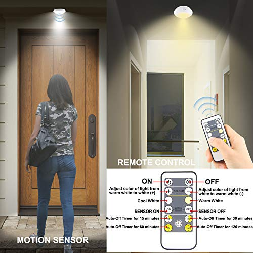 BIGMONAT Battery Operated Shower Light with Motion Sensor| Wireless Ceiling Light RF Remote Controlled Through Walls|300Lumes Bright Upgraded Leds|Brightness Dimmable and Timer Setting Indoor Lighting