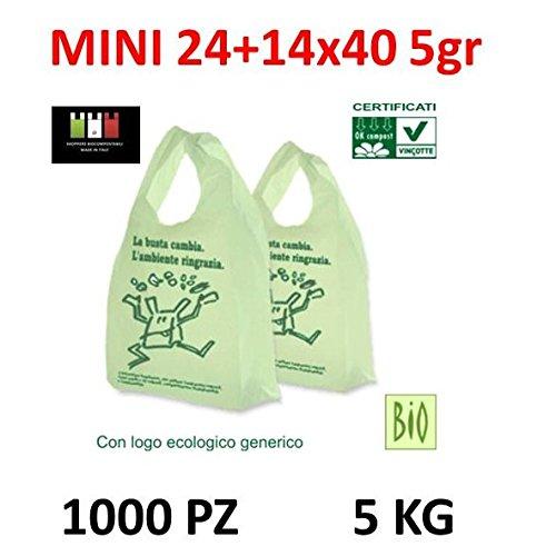 1000 MINI BUSTE BIODEGRADABILI shoppers biocompostabili 24+14x40 bio biodegradabili e compostabili gr 5 UNI 13432 (1000 shopper)