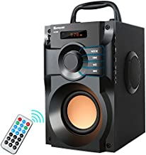 Bluetooth Speaker, Portable Speakers with Subwoofer Wireless Stereo Sound Bass Wooden Outdoor Party Speaker Bluetooth 5.0 Support Remote Control FM Radio for Home, Indoor, Travel, Camping