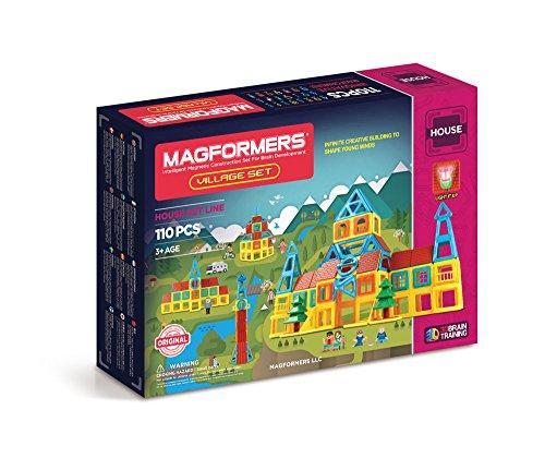Magformers Village 110 Pieces Rainbow Colors, Educational Magnetic Geometric Shapes Tiles Building STEM Toy Set Ages 3+