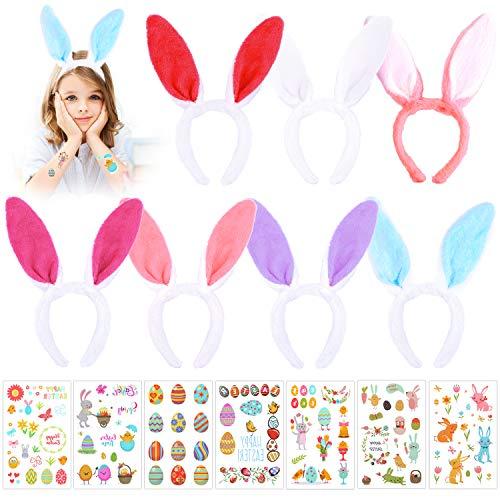 HOWAF 7 Pack Plüsch Oster Hasenohren Haarreif Haarschmuck und 7 Blätter Ostern Tattoos Set für Kinder Erwachsene Ostern Party Kostüm Cosplay ostergeschenke