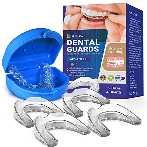 Mouth Guard for Grinding Teeth, Night Guard, Moldable Dental Guard, Professional Mouth Grinding Guard, Comfortable Custom Mold for Clenching, Bruxism, Whitening Tray & Sports Guard (4 Pack, 2 Sizes)