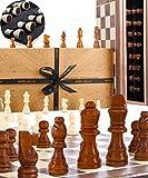 Jaques Juego de ajedrez Plegable 15 Pulgadas con Piezas de ajedrez de 3 Pulgadas: ajedrez de Calidad por más de 150 años