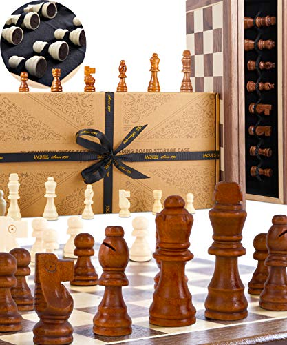 """Jaques Von London Schach – 15"""" Staunton schachspiel Holz hochwertig - Schach für Kinder Seit 1795"""