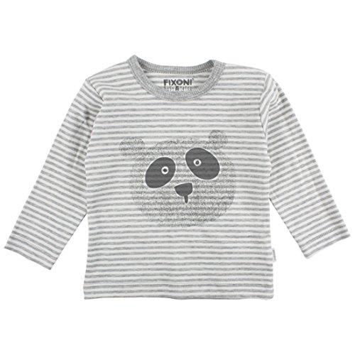 Fixoni Ensemble Grenouillère 80% Coton et Body 100% Coton - Bébé Mixte - 62 (3 Mois) Ecru Gris à Rayures