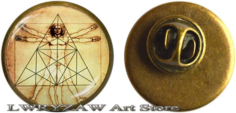 Vitruvian Brooch Over item handling ☆ Science Pin Sacred Gi Triangle Store Geometry