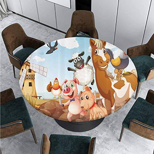 ThinkingPower Mantel redondo de poliéster con estampado de flores de lava Funk, tela impermeable, mantel de mesa para comedor y fiesta, diámetro – 76 cm (borde elástico)
