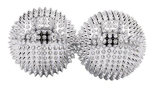 1 Paar magnetische Akupressurkugeln silber mittelgroß, Durchmesser: 47 mm, 414 Akupunkturnadeln