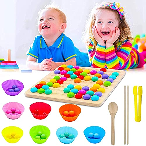 Montessori Juguetes de madera Clip Beads Juego de tablero de madera Go Juegos, juego de mesa Montessori Color Row Montessori, juego de cuentas arcoíris, juego de madera para niños, manos y ojos