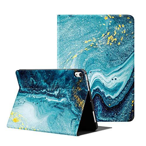 OLAIKE Estuche de TPU Suave para el Nuevo iPad Air4 10.9'Versión 2020, admite Carga inalámbrica con lápiz, Soporte Triple con Reposo/activación automático,La canica Azul