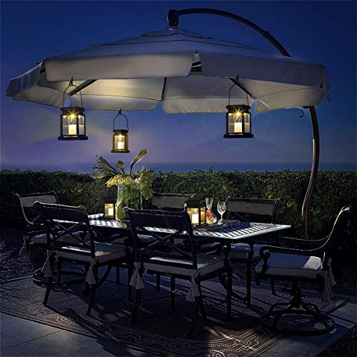 GIGALUMI 8 Pack Solar Hanging Lantern Outdoor, Candle Effect Light with Stake for Garden,Patio , Lawn, Deck , Umbrella, Tent, Tree,Yard,Driveway-Warm White