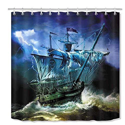 WOYQS Textil Duschvorhang Antischimmel Waschbar Piraten-Schiffs-Bad Vorhänge Liner Polyester-Gewebe Wohnkultur Bad-Accessoires Mit Haken 180 X180Cm