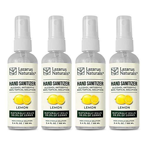 Lazarus Naturals | 4-Pack Hand Sanitizer Spray - Travel Size 3.4 oz, 80% Alcohol v/v CDC Approved Formula (Lemon Scented)