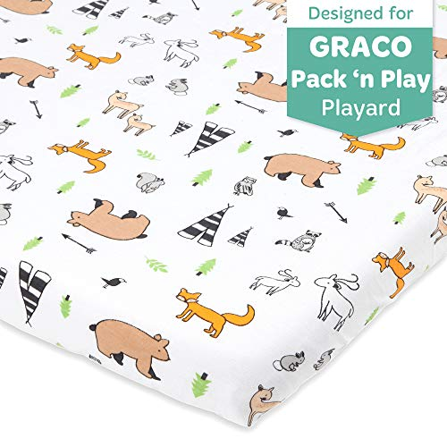 Buy Cheap Woodland Animals Pack n Play Playard Sheet Compatible with Graco | Pure Jersey Cotton Unis...