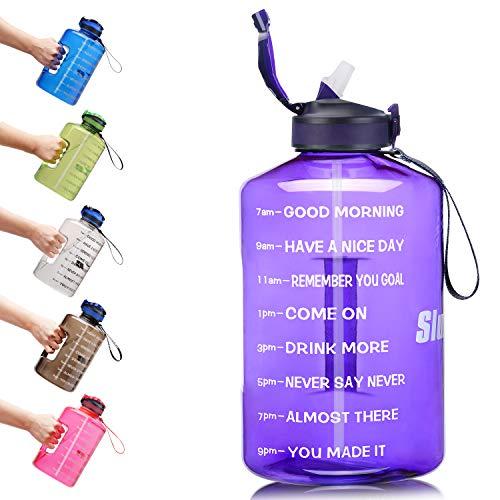 SLUXKE 2,2 Liter Wasserflasche mit Zeitmarkierung und Silikon-Strohhalm – langlebig und extra stark, große Wasserkanne, halbe Gallone Sport-Wasserflasche sicher & BPA-frei