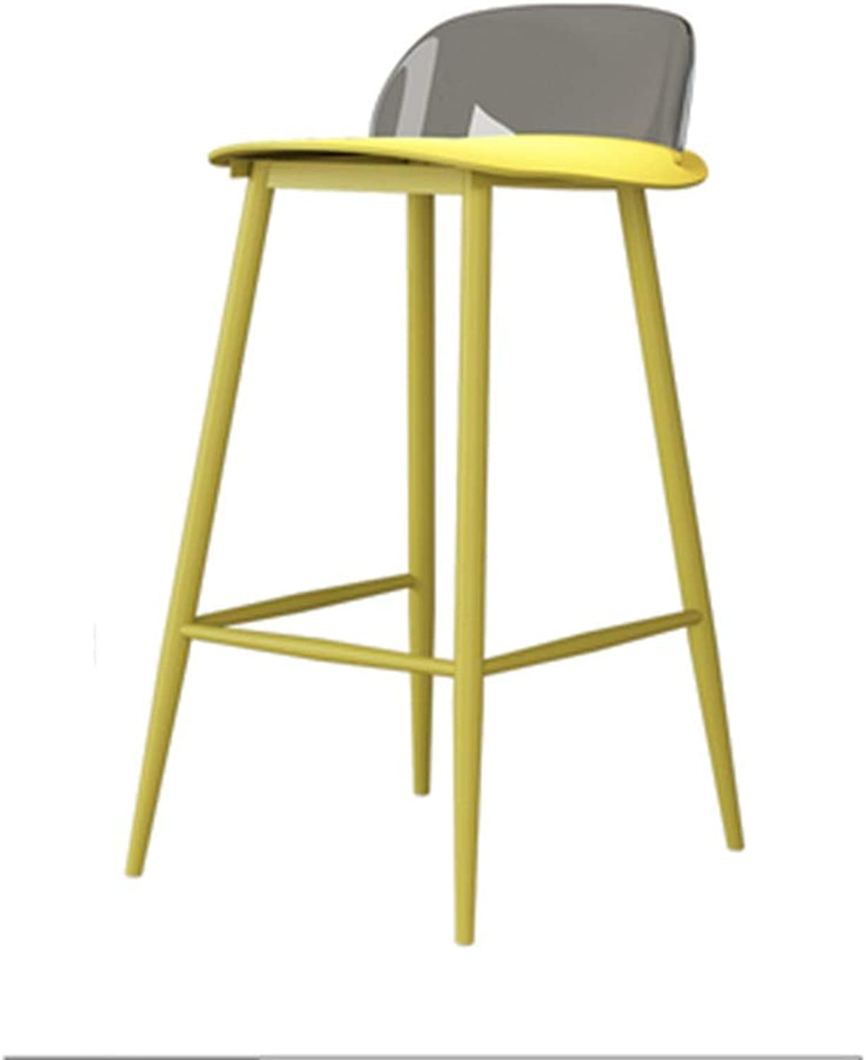 Barstools - Nordic Minimalist Bar Stool Creative Cafe High Foot Chair Personality Iron Art Modern Counter Dining Table Seat 0426A (color   Yellow)