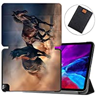 """MAITTAO Magnetic Smart Case for iPad Pro 12.9 inch 2020, Support Apple Pencil Wireless Charging with Auto Sleep/Wake, Leather Stand Cover for New iPad 12.9"""" 2020 A2229 / A2233,Akhal-Teke Horse 12"""