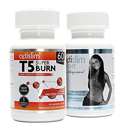 T5 Max Strength Fat Burners | Best Slimming Diet Pills Super Strong | T5s Weight Loss Tablets (60 Capsules) & Actislim Night Time Weight Loss Capsule 84 Capsules - 6 Week Supply