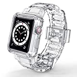 JAKPAK Compatible with Apple Watch Bands Case 42mm 44mm for Men Women, Crystal Clear Protect Sports Wristband Bumper Strap iWatch Series 5 4 3 2 1 42mm 44mm, Transparent