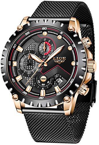 LIGE Herren Uhren Wasserdicht Chronograph Quarz Uhr für Mann Schwarz Edelstahl Quarz Herrenuhr für Mann mit Edelstahl Mesh Armbanduhr Mode Elegant Geschäft
