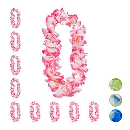 Relaxdays Hawaiikette Waikiki im 10er Set, Alohaketten für Festival, JGA, Karneval, Kostümschmuck, Karibik-Feeling, pink, Polyester, 93 cm