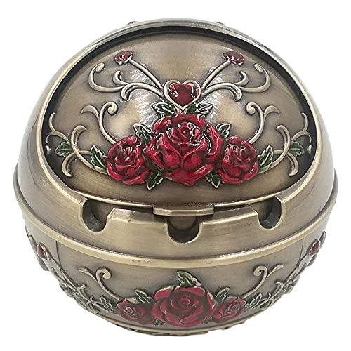 Cenicero de acero inoxidable portátil, cenicero, cenicero de bola, cenicero portátil de metal, con caja de regalo, con tapa para uso exterior e interior, rosa roja, bronce para hombres mujer decoració