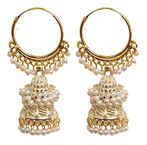 Pahal Ethnic Bollywood Jaipur - Pendientes de aro de oro largo con perla pintada en forma de jhumka, diseño de jhumki, para mujer