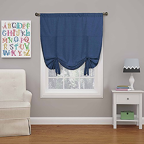 """ECLIPSE Blackout Curtains for Kitchen - Kendall 42"""" x 63"""" Short Single Panel Tie Up Shades for Small Window, Denim"""
