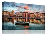 Canvas Prints Wall Art – Venice Canal Boat Italy Landscape Simulation Oil Painting for Wall Decor Ready to Hang - 24x36 inche