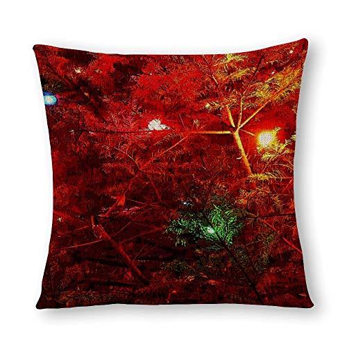 Perfecone Home Improvement - Funda de almohada de algodón con diseño de árbol doble para sofá y coche, 1 paquete de 40 x 40 cm