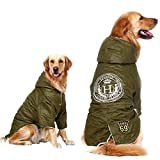 Windproof Large Dog Jacket Clothes,Soft Fleece Lined Dog Coat for Winter, Outdoor Sports Jacket Snowsuit for Labrador Bulldog(6XL, Green)