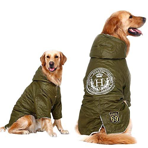 FLAdorepet Windproof Large Dog Clothes,Soft Fleece Lined Dog Coat for Winter, Outdoor Sports Jacket Snowsuitfor Labrador Bulldog (7XL, Green)