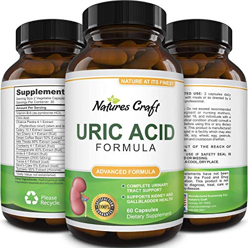 Uric Acid Support Supplement - Uric Acid for Kidney Support with Milk Thistle Vitamin B Chanca Piedra Tart Cherry Extract Celery Seed Turmeric Extract and More
