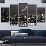 Lienzo Giclée de pared Art imagen para decoración del hogar de Puente Starry Sky Moon City 5 piezas Pinturas moderna estirada y enmarcado arte aceite