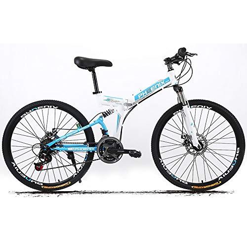 SDZXCBicicleta de montaña plegable Bicicleta Estudiante Absorción de doble choque Acero de alto carbono Frenos de doble disco Velocidad todoterreno Bicicleta para adultos 24 Velocidad 26 pulgadas