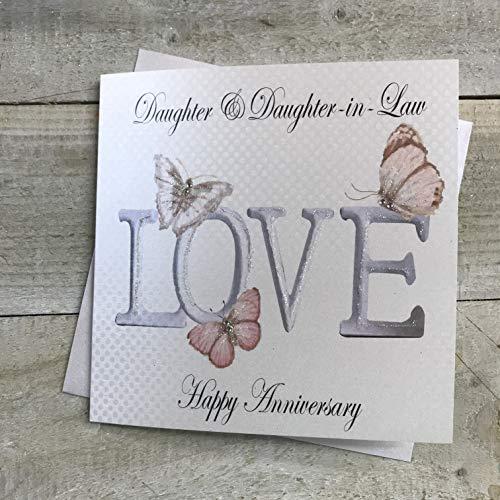 Wit Katoen Kaarten Dochter & Dochter in de Recht Gelukkig, Handgemaakte Gay Verjaardagskaart (Love, Code PD75d)