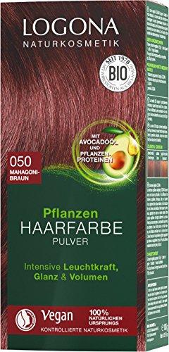 LOGONA Naturkosmetik Pflanzen-Haarfarbe Pulver 050 Mahagonibraun, Mit Avocadoöl, Braun-Rot, Vegan & Natürlich, Rote Natur-Haarfarbe mit Henna, Coloration, 100g