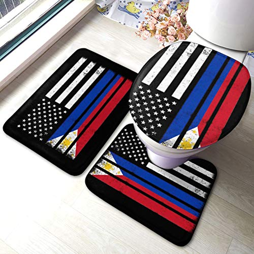 Bath Mat Set, 3 Piece Bathroom Rugs Non Slip and Absorbent Mats, Filipino American Flag, Floor Mat, U-Shaped Contour Rug and Toilet Lid Cover for Tub Shower & Bath Room
