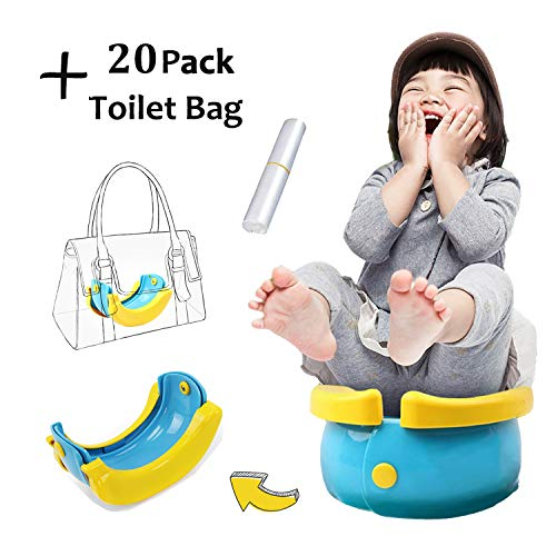 Hamkaw Vasino Portatile Da Viaggio Per Bambini con 20 Sacchetti di Carta Igienica Gratuiti, Vaschetta per l'allenamento per la Toilette del Bambino, Campeggio, Viaggi, Auto, Vacanze