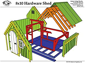 Timber Frame Post and Beam Shed Plans - 8x10 Hardware Shed - Backyard Storage Shed or Playhouse with Arched Door and Window - Step-By-Step DIY Plans (8x10)