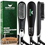 BEARDCLASS Premium Beard Straightener Comb - USA Designed for Beards! Fast Heating Electric Straightening Brush for Men with Anti-Scald Technology - Adjustable Temperature Portable Heated Straightner
