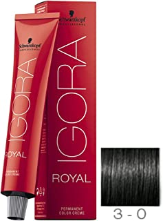 Schwarzkopf Professional Igora Royal Permanent Color Creme, 3-0, Dark Brown, 60 Gram