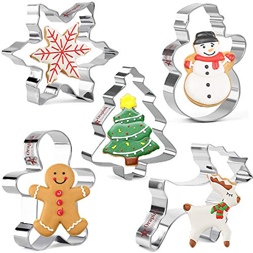 Orapink Christmas Cookie Cutters Set for Baking 5 Pieces Stainless Steel Biscuit Cutter Gingerbread Man,Snowflake,Snowman,Christmas Tree,Reindeer