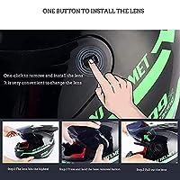 2つのホーンを備えたフルフェイスバイクヘルメット、サンバイザーレディース軽量ストリートバイクモペットクラッシュツーリングヘルメット内蔵のDOT/ECE承認済みバイクヘルメット Pink 4,XL