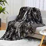 CAROMIO Faux Fur Throw Blanket 50x60 Inches Tie-dye Shaggy Decorative Reversible Throw Blanket Soft Fluffy Fuzzy Plush Sherpa Blanket Microfiber Fur Blanket for Bed Couch Living Room, Grey