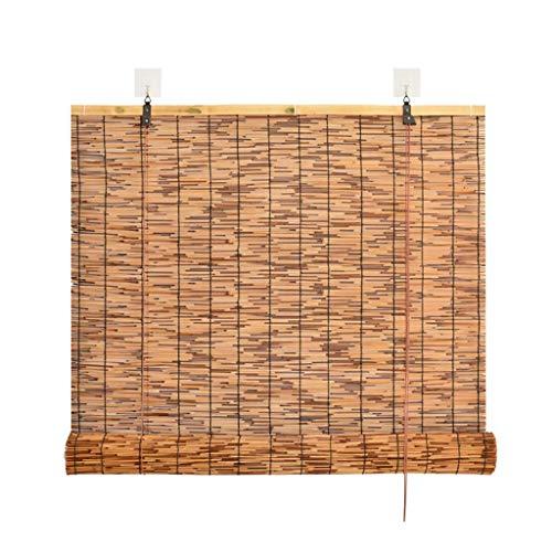 RONGXUE deurgordijn, bamboe jaloezieën, rolgordijn verduisterd bamboe gordijn retro lichtdoorlatende partitie voor eenvoudige bediening