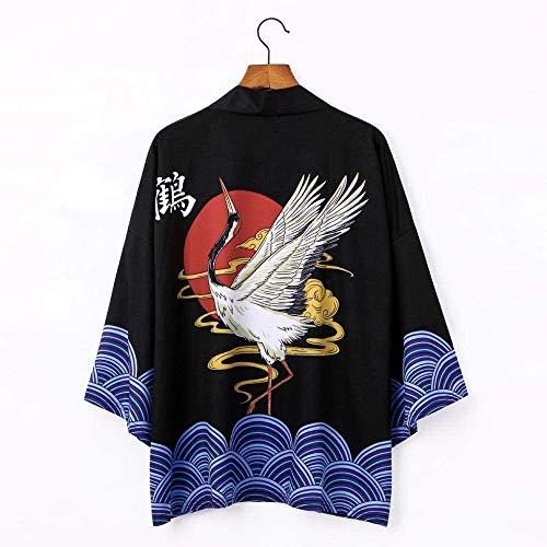 Cárdigan Kimono Japonés - Cárdigan Suelto Ligero Yukata Plumas Tejer Abrigo-Verano, C-XLarge